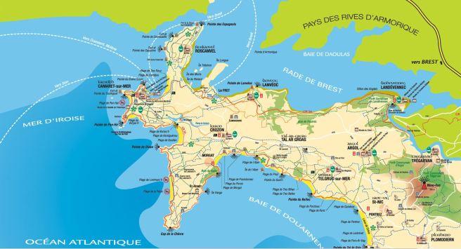 Carte Presqu'île de Crozon